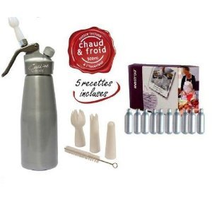 Siphon-professionnel-Corps-et-tte-en-Aluminium-pour-mousses-sauces-et-crmes-chaudes-ou-froides-500-ml-1-boite-de-10-cartouches-0