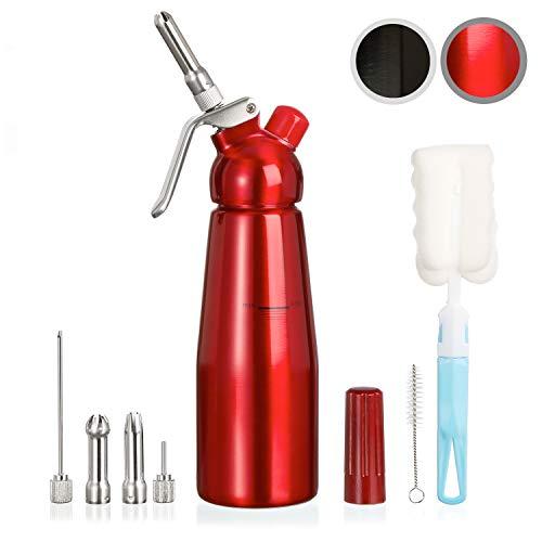 Amazy-Siphon-avec-5-Douilles-en-INOX-2-brosses-nettoyantes–Siphon-en-Aluminium-Professionnel-pour-crme-fouette-crme-Chantilly-Maison-Mousse-espuma-Rouge-0