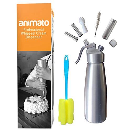 Animato-Siphon-professionnel-500-ml-en-aluminium-pour-crme-fouette-avec-douilles-en-acier-inoxydable-argent-et-noir-e-book-de-recettes-offert-brosses-de-nettoyage-garanti–vie-0