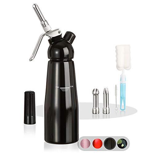 Amazy-Siphon-avec-3-Douilles-en-INOX-2-brosses-nettoyantes–Siphon-en-Aluminium-Professionnel-pour-crme-fouette-crme-Chantilly-Maison-Mousse-espuma-Noir-0