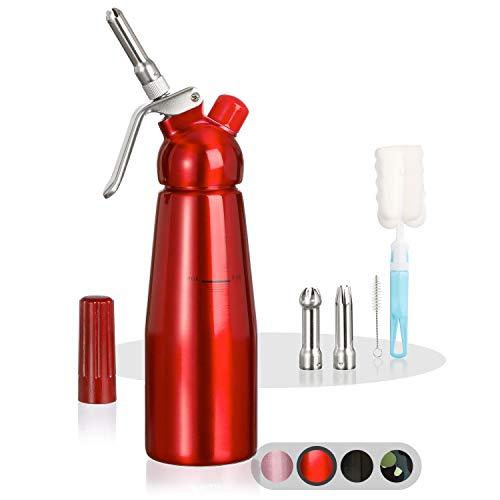 Amazy-Siphon-avec-3-Douilles-en-INOX-2-brosses-nettoyantes–Siphon-en-Aluminium-Professionnel-pour-crme-fouette-crme-Chantilly-Maison-Mousse-espuma-Rouge-0
